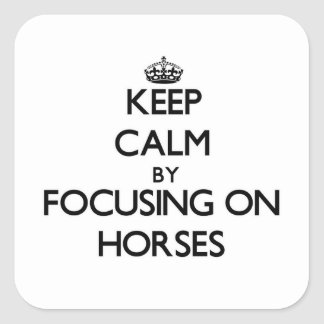 Keep Calm by focusing on Horses Square Sticker