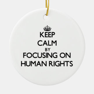 Keep Calm by focusing on Human Rights Christmas Tree Ornament