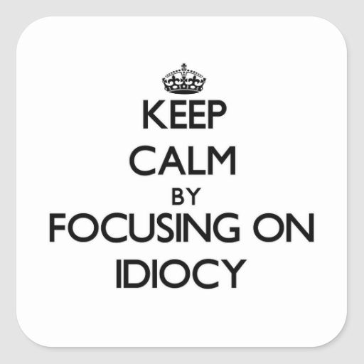 Keep Calm by focusing on Idiocy Square Stickers