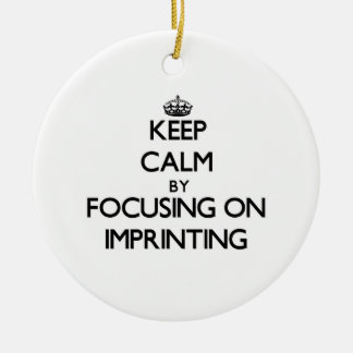 Keep Calm by focusing on Imprinting Double-Sided Ceramic Round Christmas Ornament