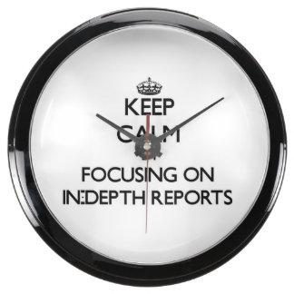 Keep Calm by focusing on In-Depth Reports Aqua Clocks