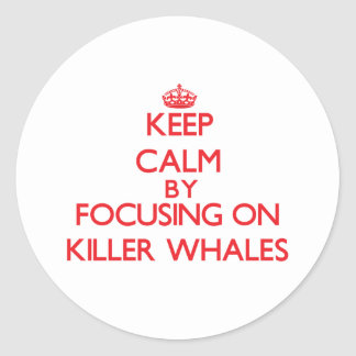 Keep calm by focusing on Killer Whales Classic Round Sticker