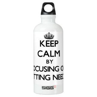 Keep Calm by focusing on Knitting Needles SIGG Traveler 0.6L Water Bottle