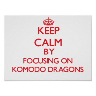Keep calm by focusing on Komodo Dragons Poster