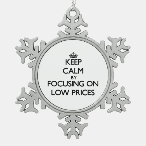 Keep Calm by focusing on Low Prices Ornament