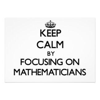Keep Calm by focusing on Mathematicians Custom Invitations