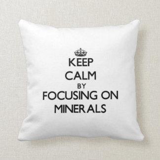 Keep Calm by focusing on Minerals Throw Pillows