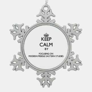 Keep calm by focusing on Modern Middle Eastern Stu Snowflake Pewter Christmas Ornament