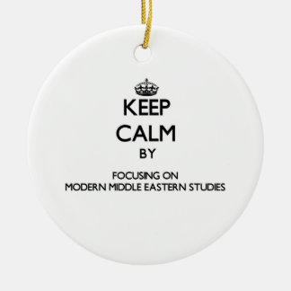 Keep calm by focusing on Modern Middle Eastern Stu Double-Sided Ceramic Round Christmas Ornament