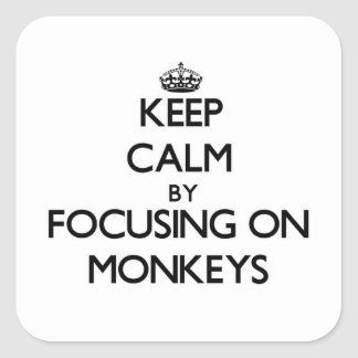 Keep Calm by focusing on Monkeys Square Stickers