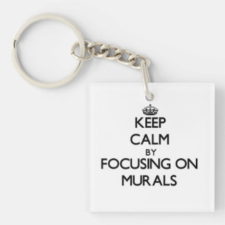Keep Calm by focusing on Murals Square Acrylic Keychain