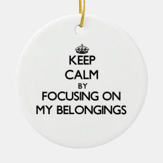 Keep Calm by focusing on My Belongings Christmas Tree Ornament