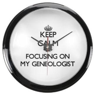 Keep Calm by focusing on My Geneologist Fish Tank Clocks