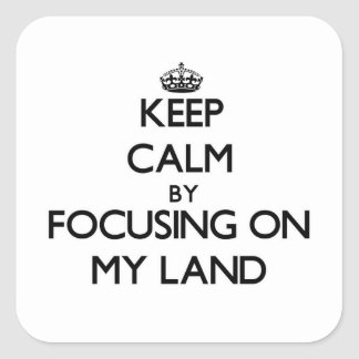 Keep Calm by focusing on My Land Square Stickers