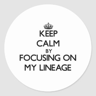 Keep Calm by focusing on My Lineage Classic Round Sticker