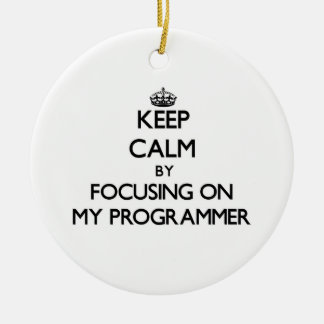 Keep Calm by focusing on My Programmer Christmas Ornament