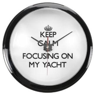 Keep Calm by focusing on My Yacht Aquarium Clocks