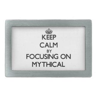 Keep Calm by focusing on Mythical Rectangular Belt Buckle