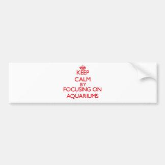 Keep calm by focusing on on Aquariums Car Bumper Sticker
