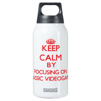 Keep calm by focusing on on Classic Videogames 10 Oz Insulated SIGG Thermos Water Bottle
