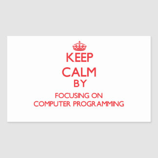 Keep calm by focusing on on Computer Programming Rectangular Stickers