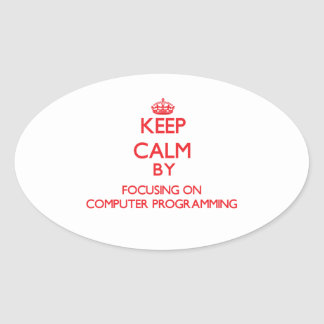 Keep calm by focusing on on Computer Programming Oval Sticker