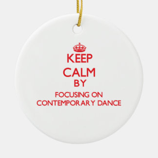 Keep calm by focusing on on Contemporary Dance Double-Sided Ceramic Round Christmas Ornament