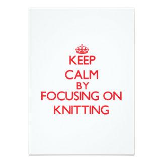 Keep calm by focusing on on Knitting Custom Invitation