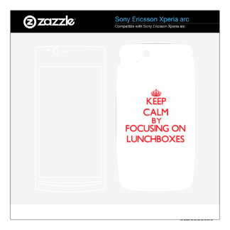 Keep calm by focusing on on Lunchboxes Xperia Arc Skins