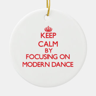 Keep calm by focusing on on Modern Dance Double-Sided Ceramic Round Christmas Ornament