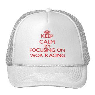 Keep calm by focusing on on Wok Racing Trucker Hat