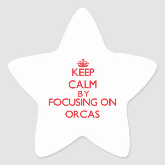 Keep calm by focusing on Orcas Star Sticker