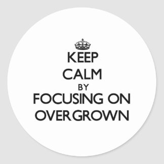 Keep Calm by focusing on Overgrown Round Stickers