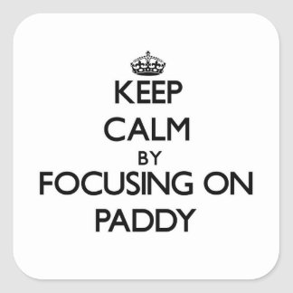 Keep Calm by focusing on Paddy Square Sticker