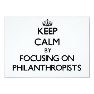 "Keep Calm by focusing on Philanthropists 5"" X 7"" Invitation Card"