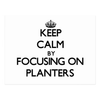 Keep Calm by focusing on Planters Postcard
