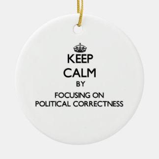 Keep Calm by focusing on Political Correctness Christmas Ornament