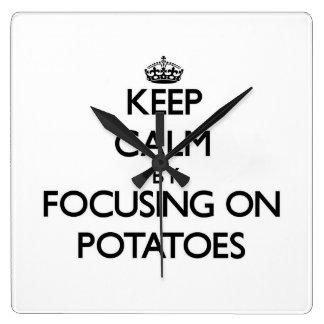 Keep Calm by focusing on Potatoes Wallclock
