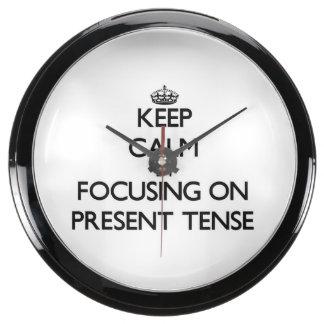 Keep Calm by focusing on Present Tense Aquavista Clocks