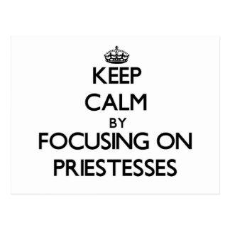 Keep Calm by focusing on Priestesses Postcard