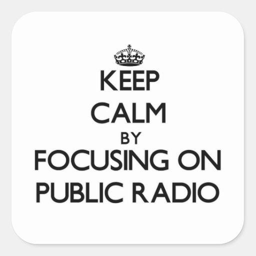 Keep Calm by focusing on Public Radio Sticker