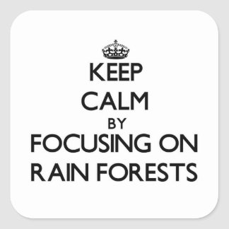 Keep Calm by focusing on Rain Forests Stickers