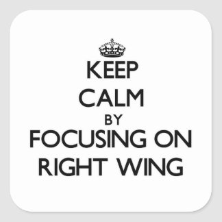 Keep Calm by focusing on Right Wing Square Sticker