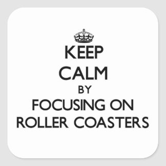Keep Calm by focusing on Roller Coasters Square Stickers