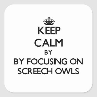 Keep calm by focusing on Screech Owls Square Sticker