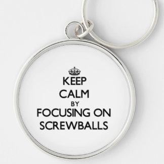 Keep Calm by focusing on Screwballs Keychain
