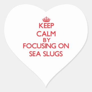 Keep calm by focusing on Sea Slugs Heart Stickers