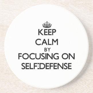 Keep Calm by focusing on Self-Defense Coaster