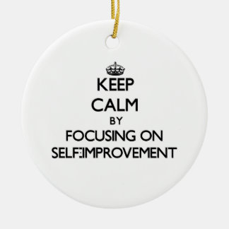 Keep Calm by focusing on Self-Improvement Double-Sided Ceramic Round Christmas Ornament