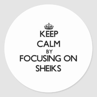 Keep Calm by focusing on Sheiks Classic Round Sticker